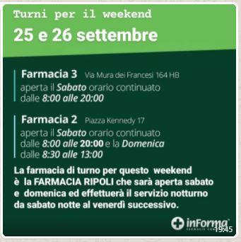 ORARIO FARMACIE COMUNALI 25-26 SETTEMBRE 2021