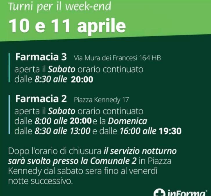 ORARI APERTURA FARMACIE COMUNALI PER IL WEEK-END DEL 10 E 11 APRILE 2021
