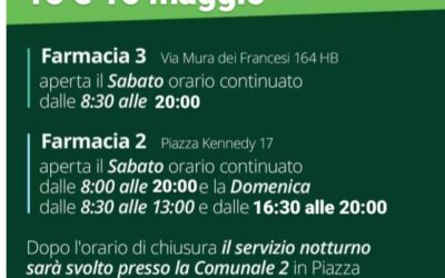 TURNI DI APERTURA FARMACIE WEEK-END 15-16 MAGGIO 2021