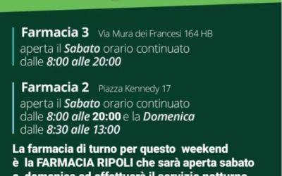 ORARIO APERTURA FARMACIE 10-11 LUGLIO 2021