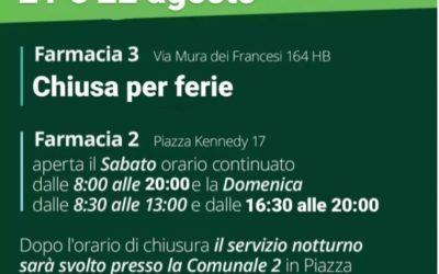 ORARIO APERTURA FARMACIE CIAMPINO 21-22 AGOSTO 2021