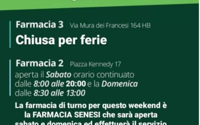 ORARIO APERTURA FARMACIE 28-29 AGOSTO 2021