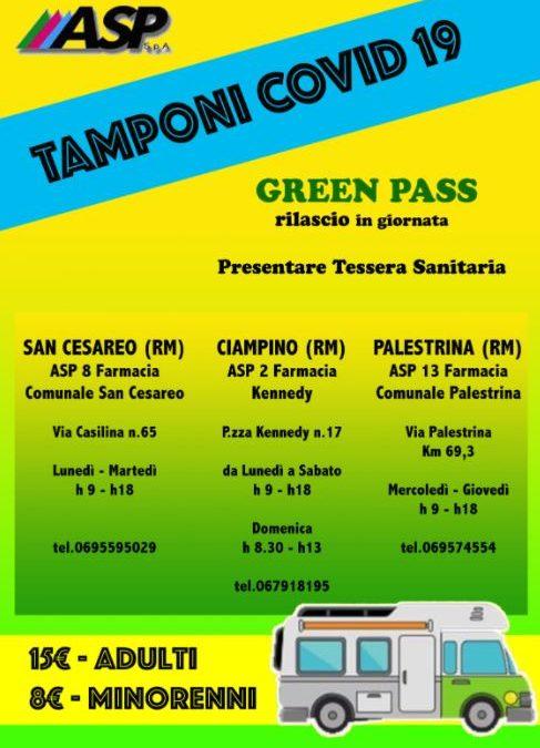 CALENDARIO TAMPONI COVID 19 CON RILASCIO GREEN PASS IMMEDIATO FARMACIE ASP