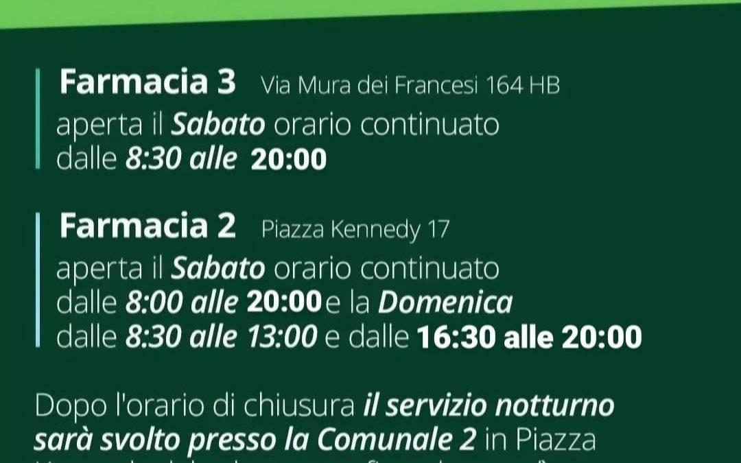 ORARI FARMACIE COMUNALI 2-3 OTTOBRE 2021